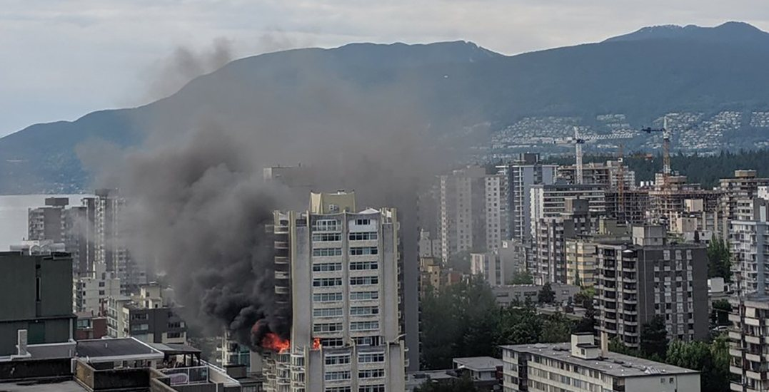 3 alarm condo fire in West End fills downtown Vancouver with smoke