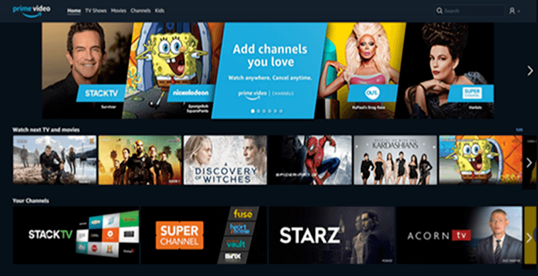 Amazon launches Prime Video Channels for Canadians