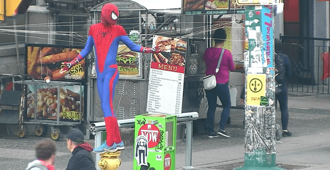Toronto police warn of 'Spider-Man' webbing downtown intersection