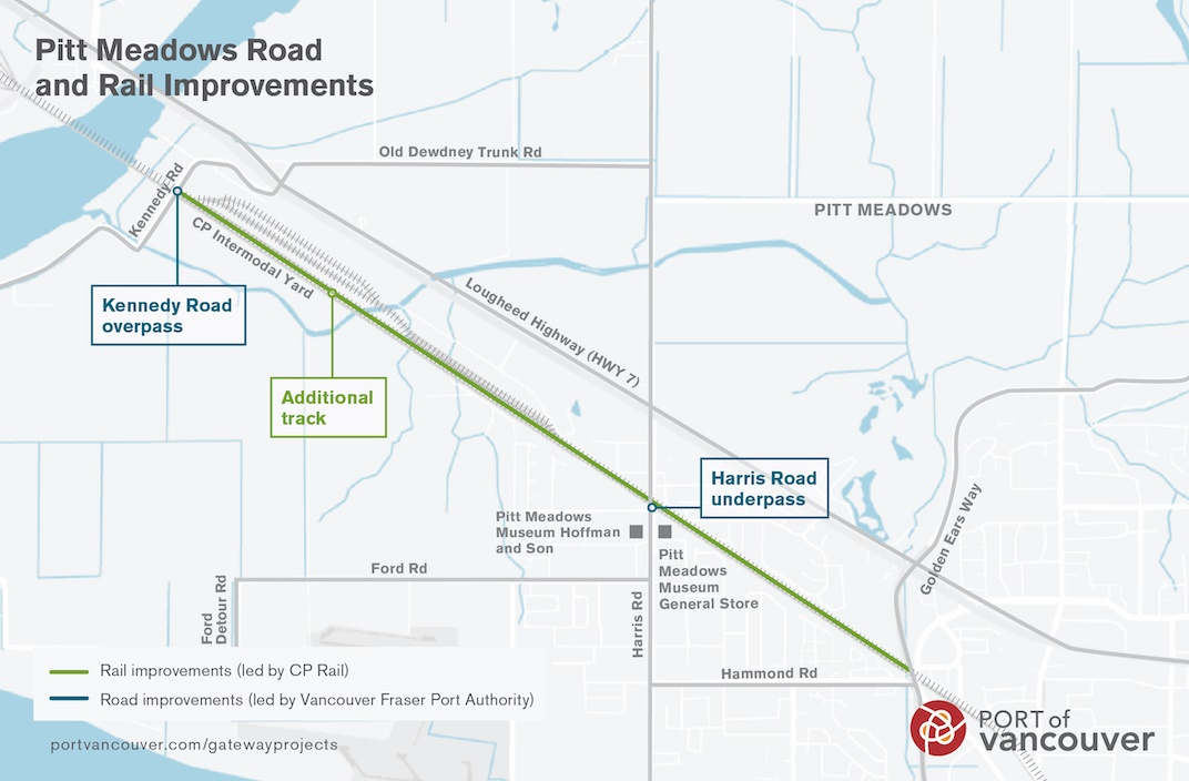 Planned railway crossing upgrades in Pitt Meadows. (Port of Vancouver)