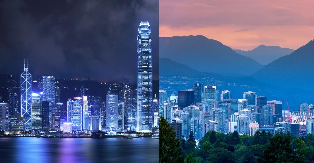 Hong kong vancouver skyline