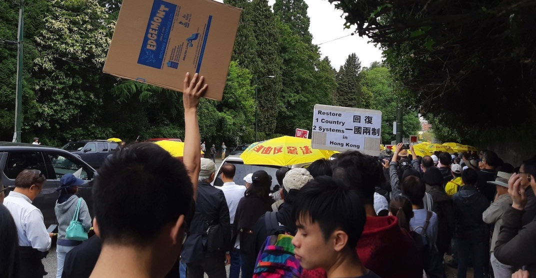 Hundreds protest at Vancouver's Chinese consulate in solidarity with Hong Kong