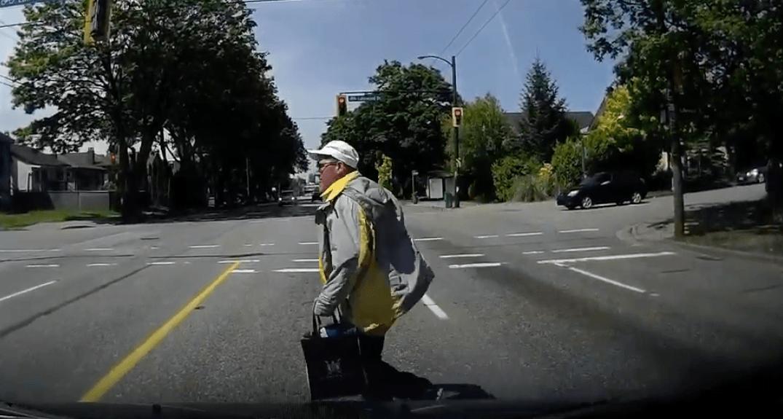 Dashcam captures close encounter between vehicle and pedestrian (VIDEO)