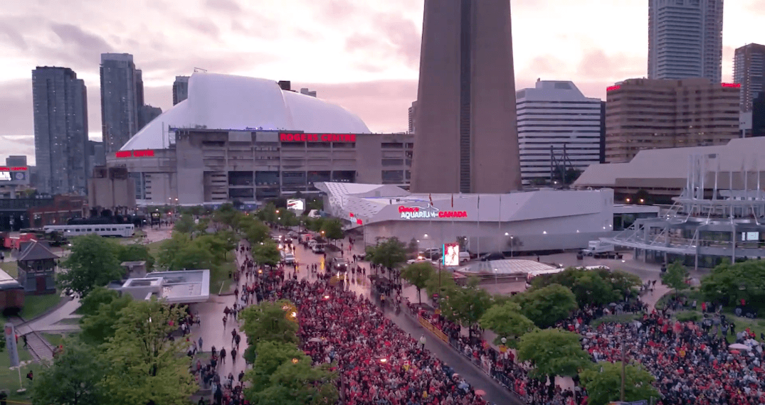 Someone filmed thousands singing O Canada outside of Jurassic Park before Game 5 (VIDEO)