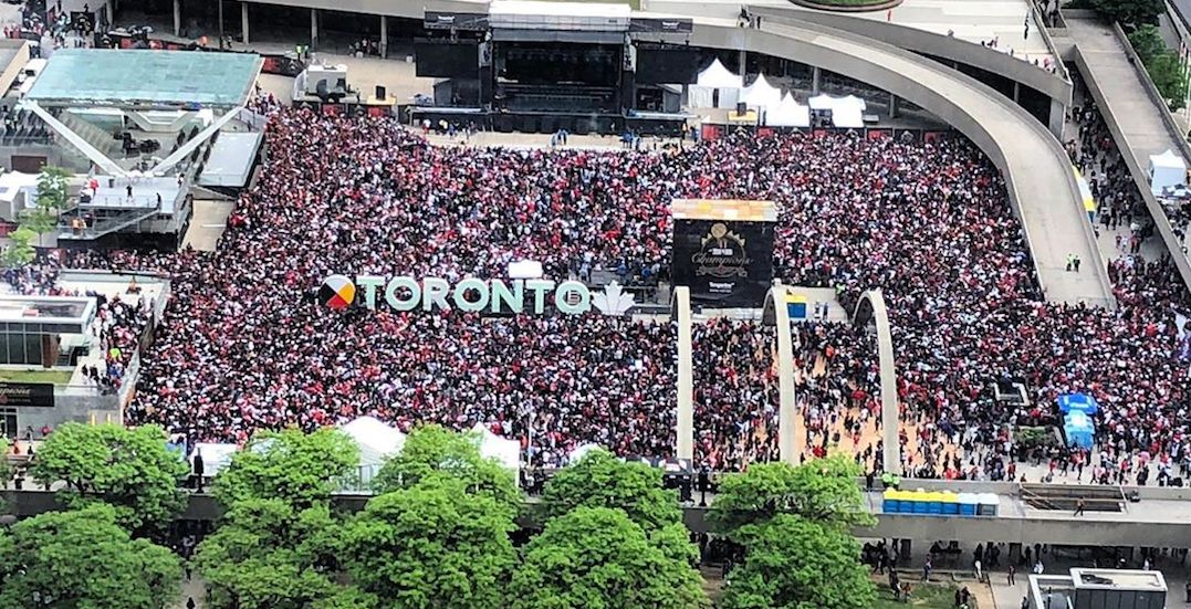 Nathan Phillips Square is completely packed in advance of Raptors parade (PHOTOS)