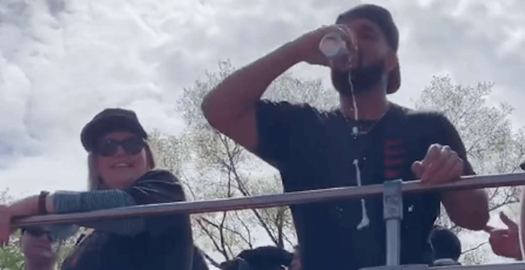 Drake catches beer from Raptors parade crowd, crushes it (VIDEO)