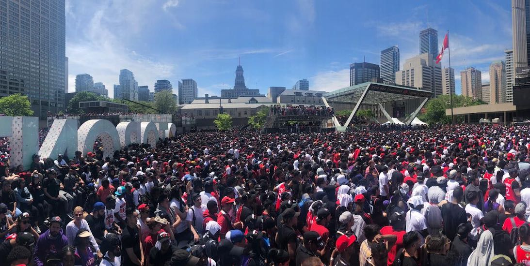 Shooting at Nathan Phillips Square during Raptors celebrations