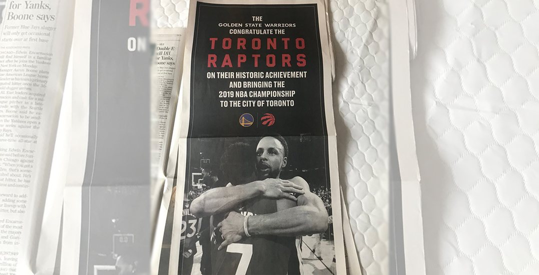 Golden State Warriors take out full-page ad in Toronto newspaper