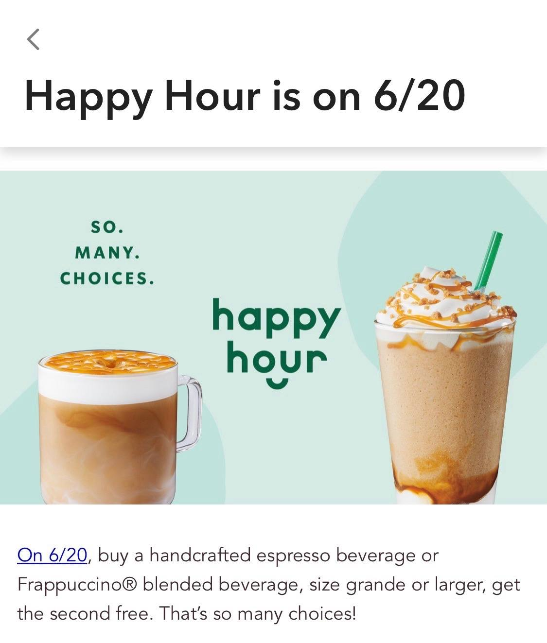 Starbucks Happy Hour June 20 2019