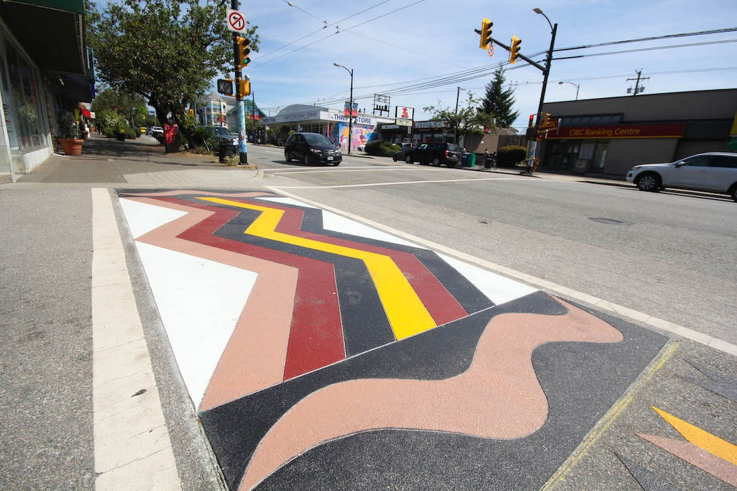 Musqueam First Nations crosswalk on Granville Street in Vancouver