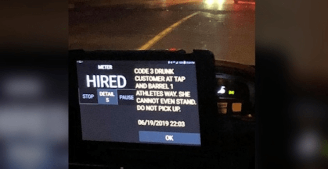 Taxi rider concerned over 'do not pick up' message about drunk customer