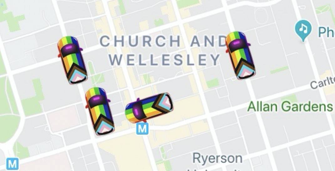 Lyft has changed its car icons to feature the Progress Pride flag on its app