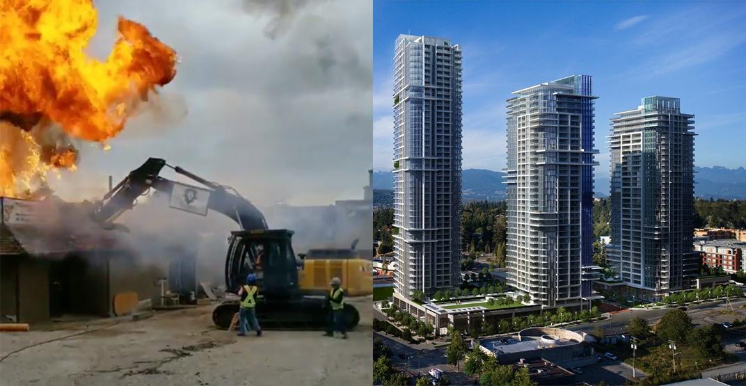Surrey's Flamingo Hotel gets fiery demolition for 3 new condo towers (VIDEO)