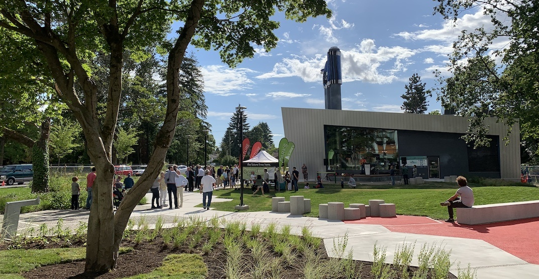 Surrey unveils new energy centre with park and blanket-inspired public art