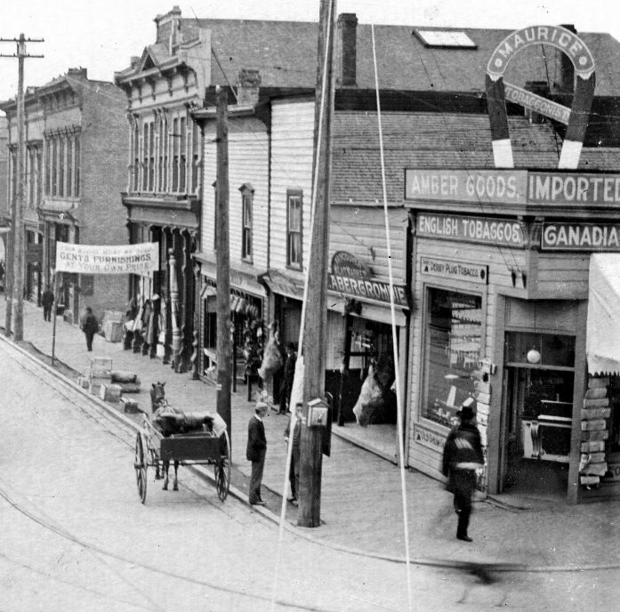 Before the Cambie: the southeast corner of Cordova and Cambie, ca. 1898. City of Vancouver Archives #256-01.28.