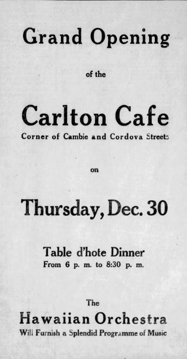 Carlton Cafe grand opening. Province, 28 December 1909.