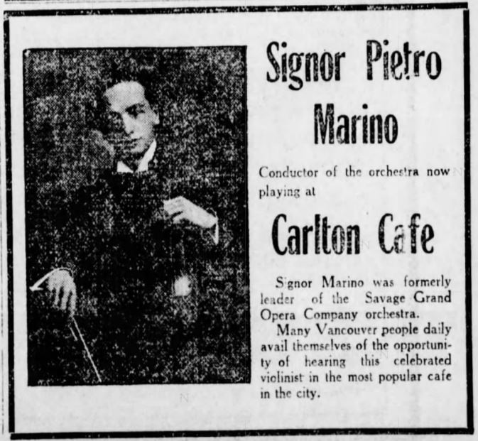 Orchestra leader Signor Pietro Marino at the Carlton Cafe, Daily World, 3 August 1910.