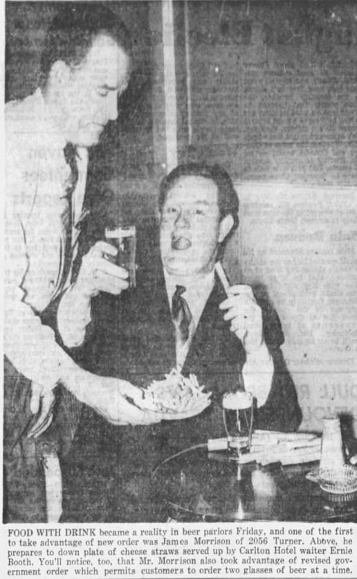 A Carlton patron enjoying the loosening up of the liquor laws. Province, 31 January 1953.