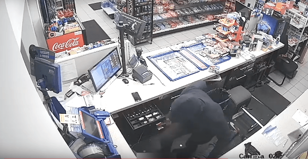 Armed suspect violently injures gas station attendant during robbery