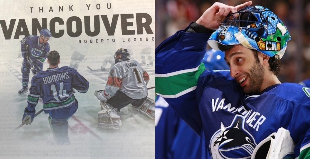 Luongo Buys Newspaper Ad To Thank People Of Vancouver Offside