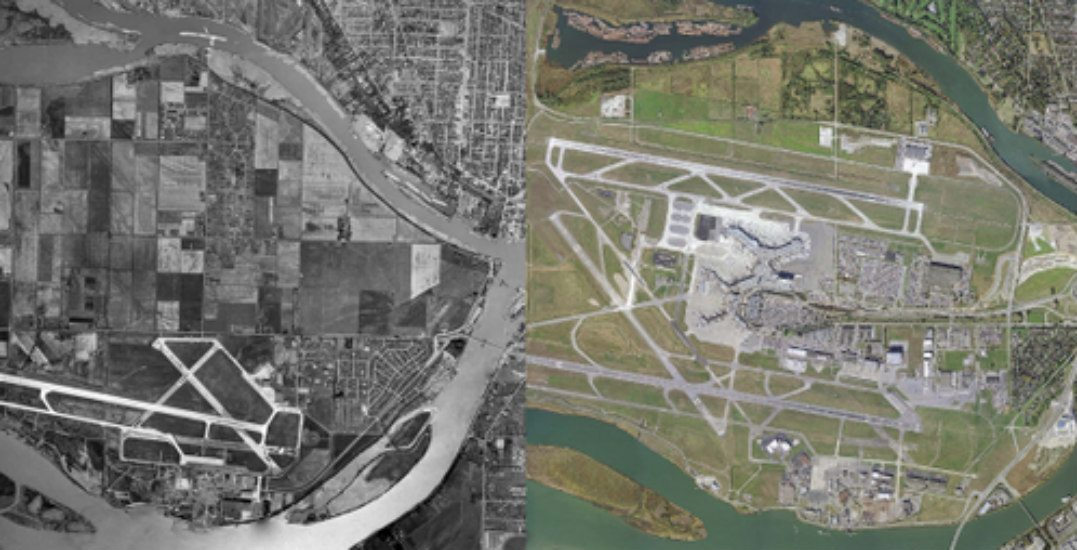 Aerial view of sea island and yvr 50 years apartvancouver airport authority