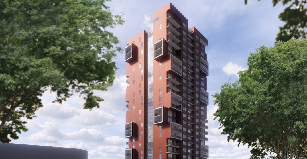 Jenga-like, 26-storey tower proposed for South Vancouver (RENDERINGS)