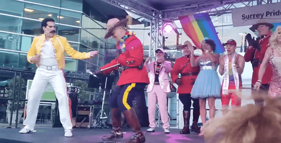 Mountie rocks out on stage with Freddy Mercury impersonator at Pride Festival (VIDEO)