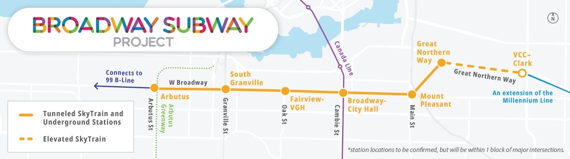 Broadway Subway SkyTrain route map