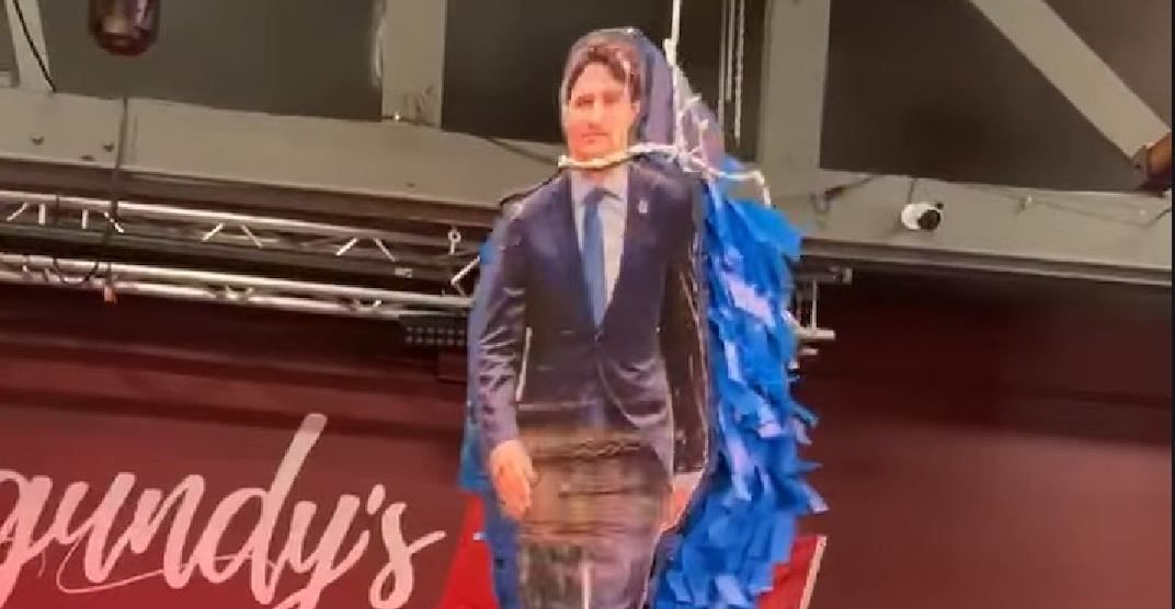Trudeau piñata sparks outrage and death threats for Alberta bar owner
