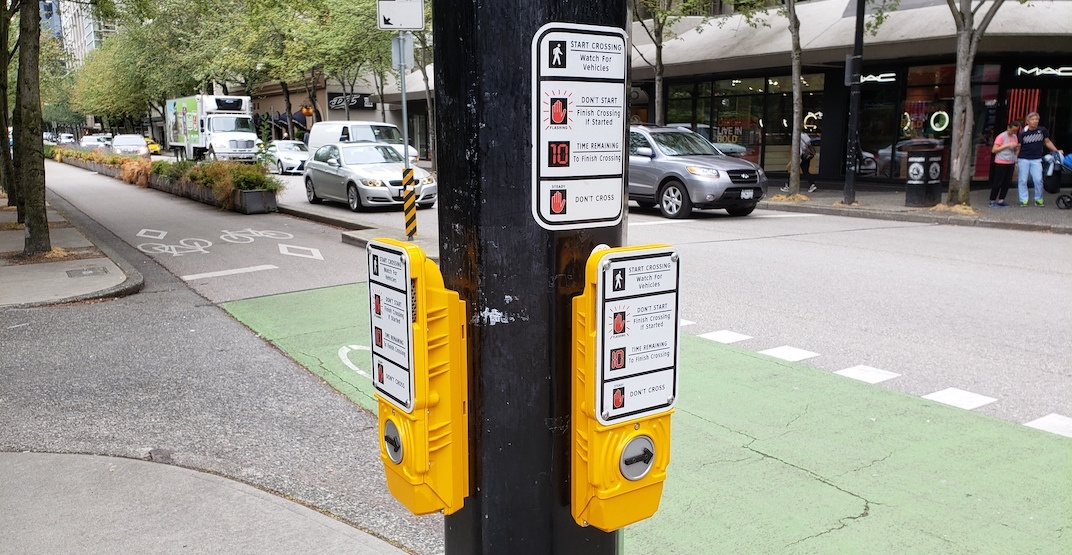 Blind and deaf-friendly crosswalk push buttons increasingly installed in Vancouver