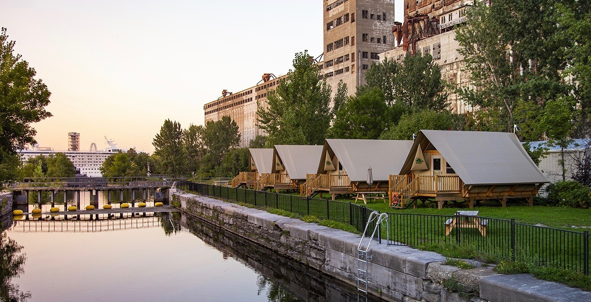 You can camp out in these urban tents along the Lachine Canal all summer