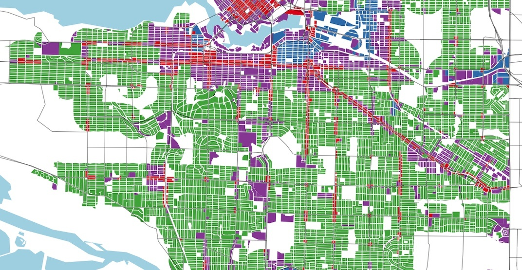 Most of Vancouver's frequent transit network is surrounded by low-density zoning