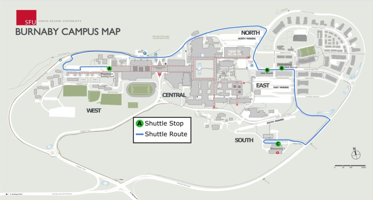 SFU Campus Community Shuttle bus route