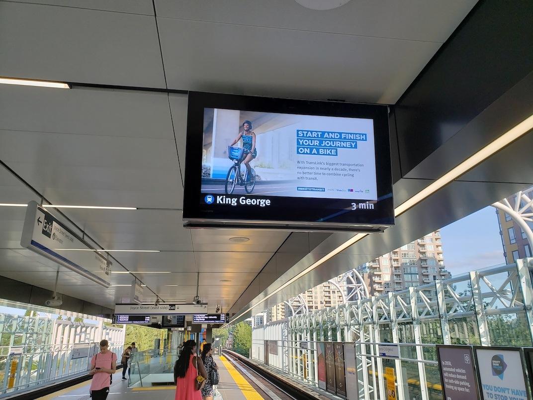 SkyTrain LCD signs platform Joyce-Collingwood Station