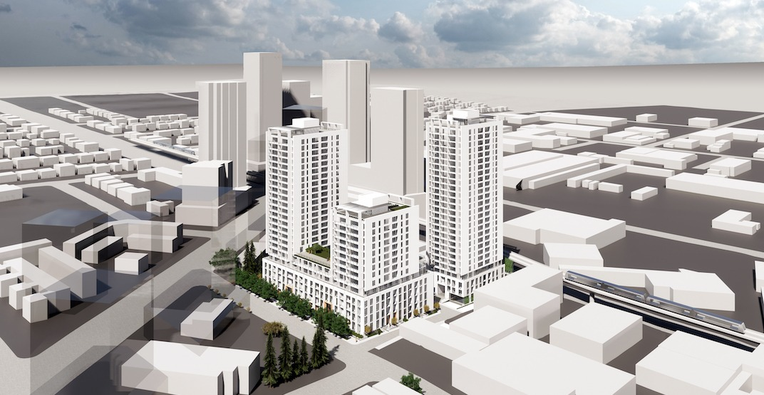3 towers with 600 rental homes proposed next to Marine Drive Station in Vancouver
