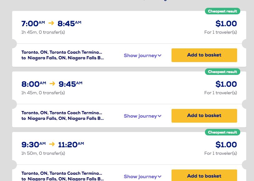 You can take a Megabus from Toronto to Niagara Falls for USD