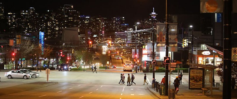 Intersection of Cambie Street and West Broadway with LED lights. (City of Vancouver)