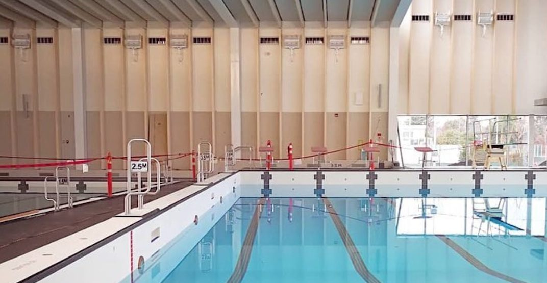 Swimming pools at Minoru Centre for Active Living in Richmond being tested with water in December 2018. (HCMA Architecture + Design)