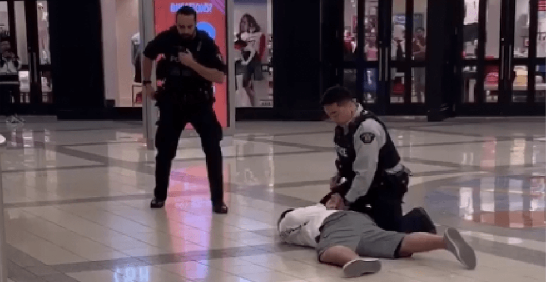 Armed officers take down suspect in needle attacks at Metrotown (VIDEO)