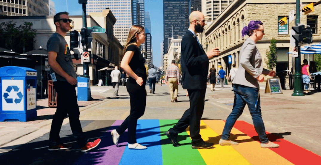 Calgary officially unveils permanent LGBTQ+ and trans flag crosswalks