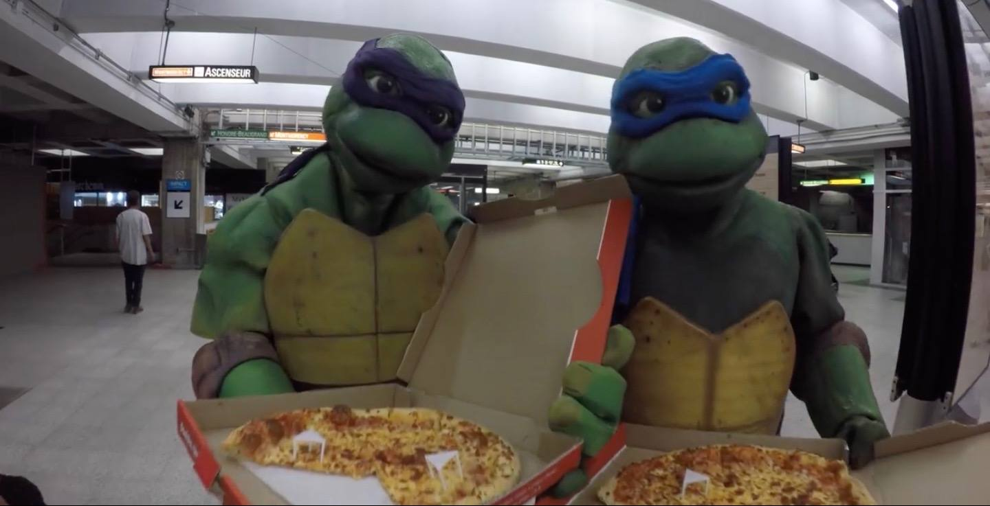 The Ninja Turtles dished out free pizza on the Montreal metro (VIDEO)