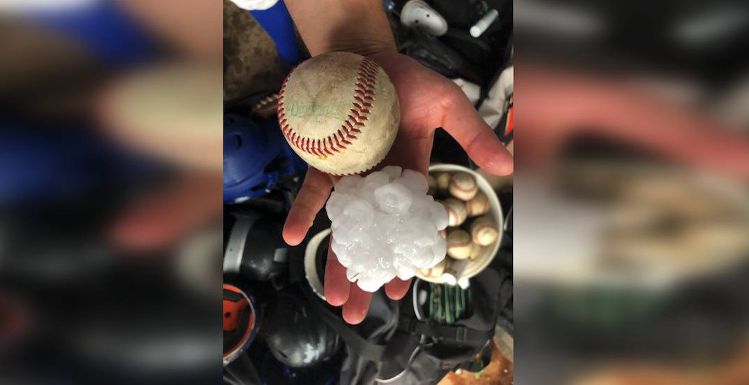 Baseball-sized pieces of hail hit Alberta over the weekend