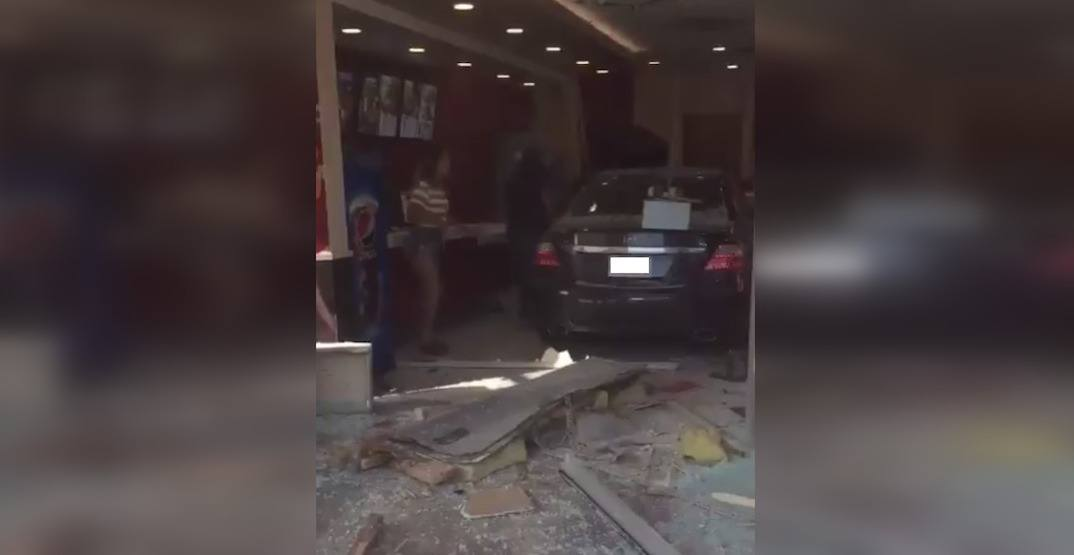 A car drove straight into a KFC in Calgary on Monday