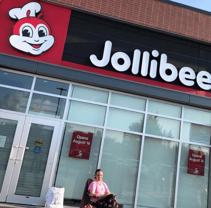 Man in Jollibee Edmonton line
