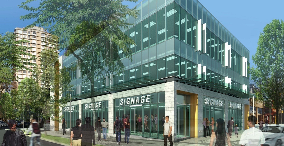 New retail and office building coming to the foot of Denman Street at English Bay