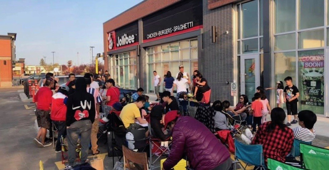 There's a huge pre-opening line in front of Jollibee's new Edmonton location