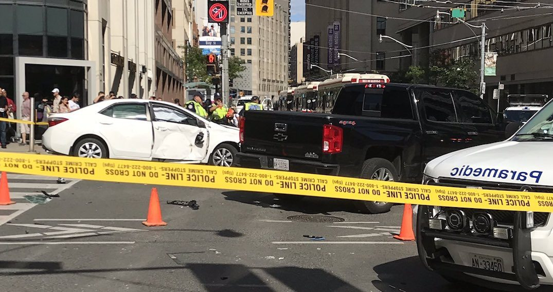 'Serious' multi-vehicle crash at College and Bay sends multiple pedestrians to hospital