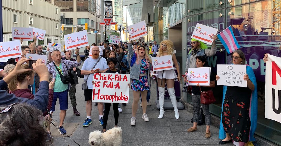 Protesters surround opening of Chick-fil-A's first Canadian location (PHOTOS)