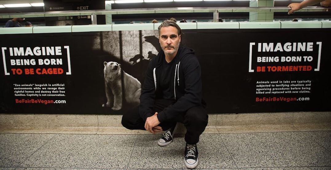 Joaquin Phoenix spotted at St. George Station supporting new vegan campaign (PHOTOS)