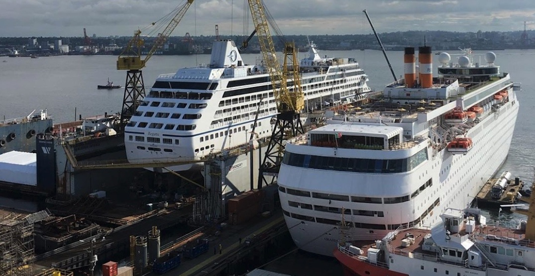 Two cruise ships parked at North Vancouver shipyards part of enormous refit project